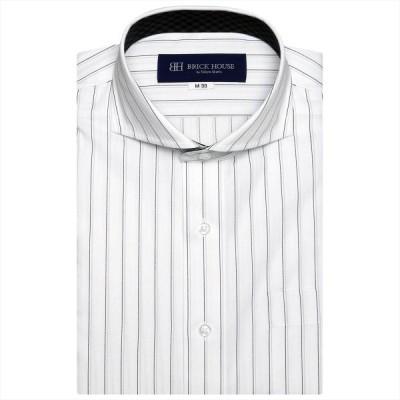 ワイシャツ 半袖 形態安定 ホリゾンタル ワイド 白×黒、グレーストライプ、ストライプ織柄 (再生ポリエステル) Just Style