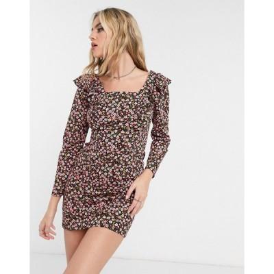 エイソス ミニドレス レディース ASOS DESIGN mini long sleeve with frill detail dress in black and pink floral エイソス ASOS マルチカラー