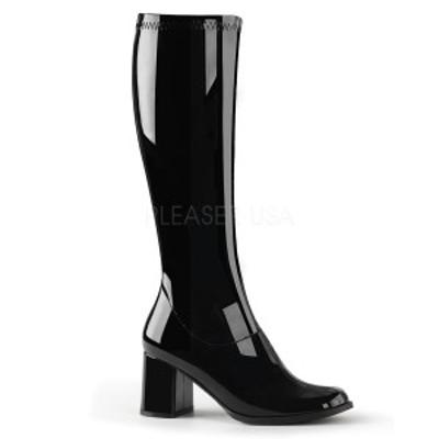 FUNTASMA(Pleaser) GOGO-300 エナメル黒 ニーハイブーツ GOGOブーツ コスプレ用ブーツ イベント 衣装 キャンギャルブーツ ロングブーツ