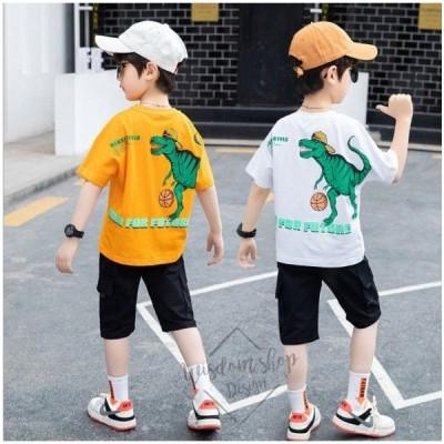 男の子子供上下セット半袖Tシャツ 短ズボンスウェット2点セットキッズカジュアル男児ジュニア小学生可愛い通園着通学着