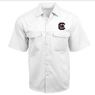 アンティグア シャツ トップス メンズ Antigua Men's University of South Carolina Game Day Woven Fishing Shirt White