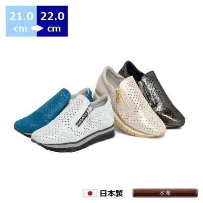 パンチング スニーカー 21cm 21.5cm 22cm ヒール 3cm 厚底 コンフォート カジュアル ローヒール ラウンドトゥ ファスナー 革 日本製