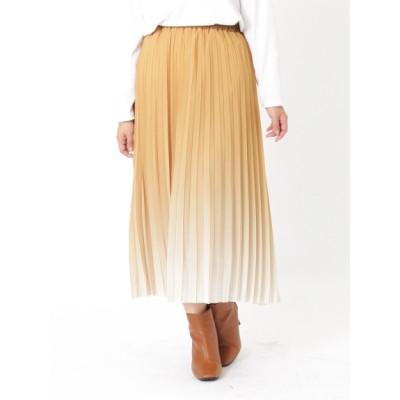【大きいサイズ】グラデーションカラ―プリーツスカート 大きいサイズ スカート レディース