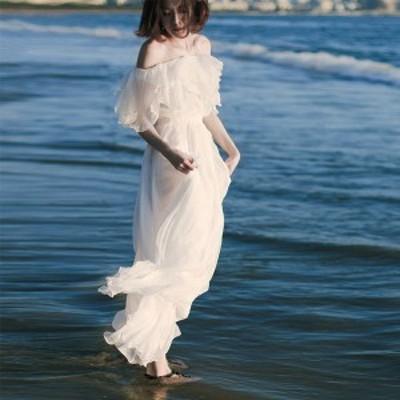 リゾートワンピ オフショルダー ワンピース 女性らしさ溢れる マキシ丈 ボヘミア風 大人のワンピース ホワイト グリーン 夏ワンピ マキシ