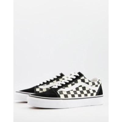 バンズ レディース スニーカー シューズ Vans UA Old Skool checkerboard sneakers in black/white Black