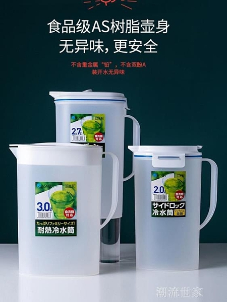 日本進口ASVEL冷水壺 塑料家用耐熱耐高溫涼開水大容量冰箱涼水壺『潮流世家』
