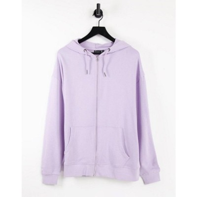 エイソス レディース パーカー・スウェット アウター ASOS DESIGN organic cotton super oversized zip through hoodie in lilac