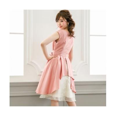 後スリットレース使いシャンタンワンピース 【謝恩会・パーティドレス】Dress