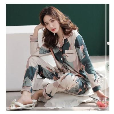 パジャマ レディース ルームウェア 秋冬 綿 前開き セットアップ 長袖 上下セット 大きいサイズ 可愛い ロングパンツ ゆったり 韓国風 寝巻き 部屋着 寝間着