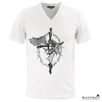 BlackVaria Tシャツ Vネック クロスエンジェル プリント半袖 メンズ(ホワイト白) zkh066