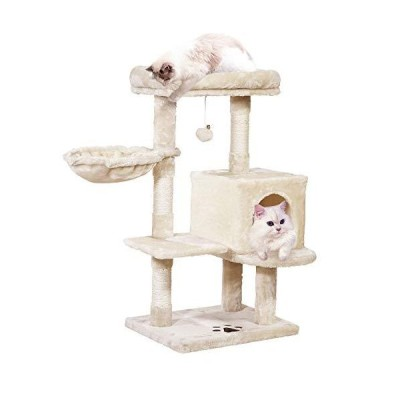MQ Multi-Level Cat Tree Condo, Activity Center Cat Tower Furniture 36'' with Sisal-Covered Scratching Posts, Padded Plush Perch, Spacious Ca