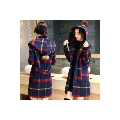 コート レディース ロングコート アウター オーバーコート 体型カバー チェック柄 チェスターコート 羽織コート フード付き イギリス風
