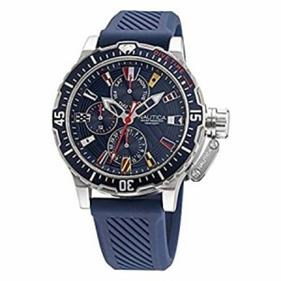 Nautica Mens Stainless Steel Quartz Silicone Strap, Blue, 22 Casual Watch