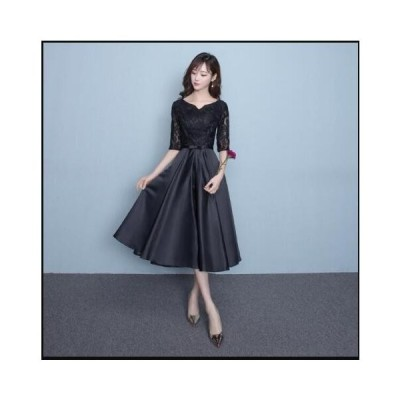 きれいめ レディースドレス ワンピース 刺繍付き ミドルドレス 演奏会ドレス ウェディングドレス 二次会 花嫁ドレス イブニングドレス 可愛い 着痩せ お呼ばれ