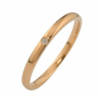 シンプル ストレート 一粒 ダイヤリング K18 指輪 18金 ピンキーリング ダイヤモンド 0.01ct 究極diaring