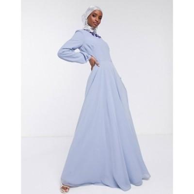 エイソス レディース ワンピース トップス ASOS DESIGN maxi dress with embellished neckline and long sleeve in pale blue