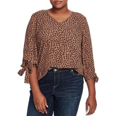 セセ レディース シャツ トップス Cece Plus Size 3/4 Tie Detail Sleeve Leopard Print Blouse