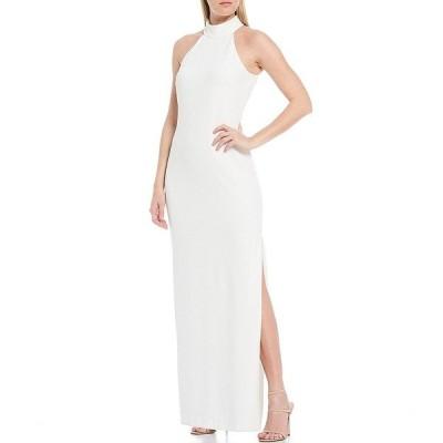 バッジェリーミシュカ レディース ワンピース トップス Reese Halter Neck Crepe Side Slit Gown Winter White