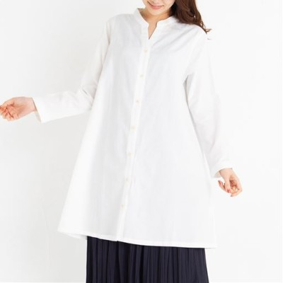 【NET限定】スキッパーシャツチュニックワンピース/オフホワイト/M