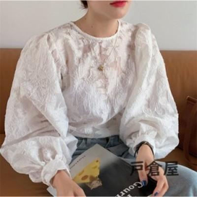 ブラウスレディース40代秋新作オシャレブラウス白Tシャツ長袖トップス白レースブラウスパフスリーブ大人上品韓国風大きいサイズシャツ30