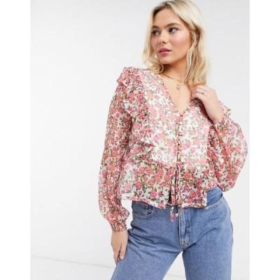 ネオンローズ レディース シャツ トップス Neon Rose blouse with ruffle front and tie back detail in ditsy floral White pink floral