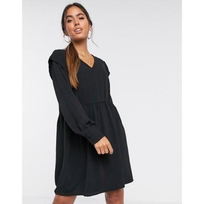 ヴェロモーダ レディース ワンピース トップス Vero Moda mini dress with v neck in black