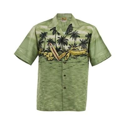 サンセットカヌーハワイアンアロハシャツ;ハワイ製グリーンXL
