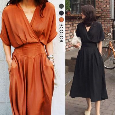 ✨2019新作韓国ファッションウエストのやせが目立つVネック流行のお姉さんのファッションの大きいブランドのセクシーなワンピース