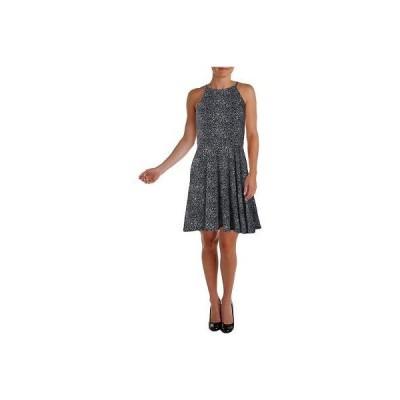 ドレス 女性  アクア アクア 9085 レディース B/W プリントed Halter ミニ カジュアル ドレス L