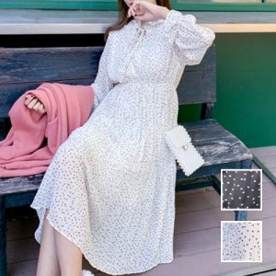 韓国 ファッション レディース ワンピース 春 夏 秋 新作 カジュアル naloJ534  シアー シフォン スタンドカラー プリーツ シンプル コー