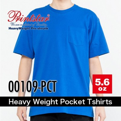 printstarプリントスター 5.6オンスヘビーウェイトポケットTシャツ 00109-PCT 無地 メンズ レディース