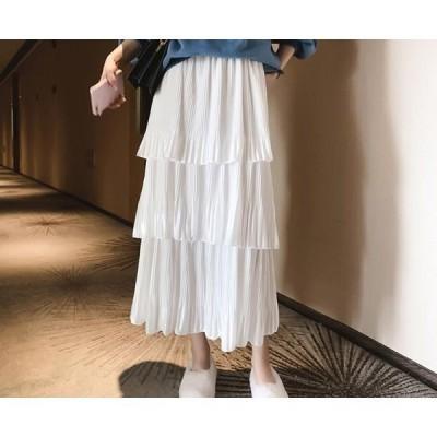 【セール】春夏 カジュアル プリーツスカート WE 無地 フリーサイズ 可愛い Aライン 着痩せ レディース ロングスカート シフォン ハイウエ