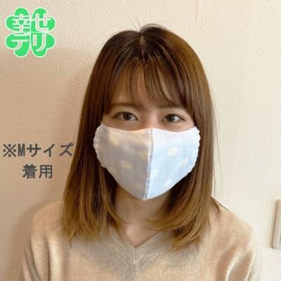 ガーゼマスク(雲柄)M レギュラーサイズ1枚 女性用 大人用 立体ドーム型の布マスク 柄付きマスク おしゃれマスク