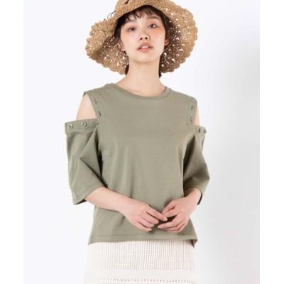 (WEGO/ウィゴー)WEGO/ボタンオープンショルダーTシャツ/ユニセックス カーキ