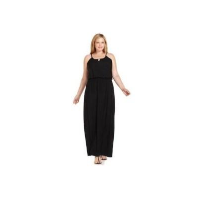 スタイル&コー-MMG ドレス ワンピース フォーマル Styleco. Plus サイズ ノースリーブ Blouson M Deep ブラック 0X NEWブラック   Rtl.59.25 LAFO