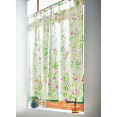 華やかな水彩タッチのUVカット・遮熱・遮像小窓レースカーテン
