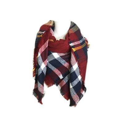 Aesthetinc クラシック オーバーサイズ マルチ カラー Plaid デザイン Frayed ブランケット スカーフ (Red(海外取寄せ品)