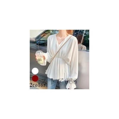 バルーン袖とゆったりサイズがかわいいブラウス シャツ おしゃれ きれいめ 可愛い 韓国ファッション 韓国スタイル 春 夏 お出かけ デート