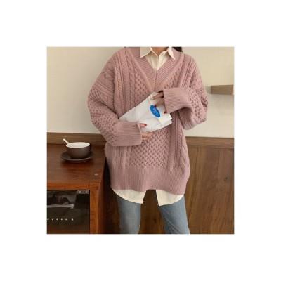 【送料無料】秋 韓国風 ルース 襟 オーバーサイズ 風 セーター ニット 女の子の長いセクシ | 346770_A63956-4615910