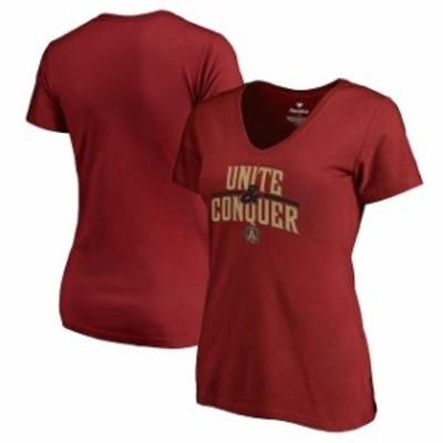 Fanatics Branded ファナティクス ブランド スポーツ用品  Fanatics Branded Atlanta United FC Womens Cardinal Unite & Conquer V-Neck