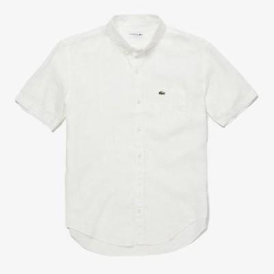 [ラコステ]リネンショートスリーブボタンダウンシャツ ホワイト S(003) メンズ アウター/トップス M(004)