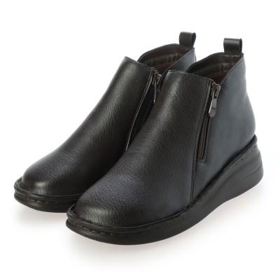 ハナスタイル hanaSTYLE らくらくクッション サイドジッパー ショート ブーツ (ダークブラウンスムース)
