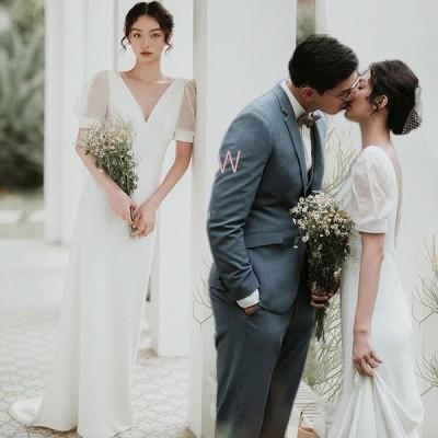 夏新品ウェディングドレス ウェディングドレス白 パーティードレス Vネック パール 花嫁ロングドレス 結婚式 トレーンライン 二次会 エレガント お呼ばれ hs6006