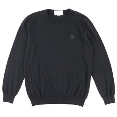 グッチ クレスト刺繍 クルーネック ウールニットセーター メンズ 黒 L 美品 GUCCI【G2-17548】
