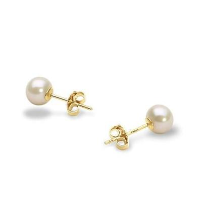 PearlsOnly 7-8mm AAA 品質 14K イエローゴールド 淡水養殖真珠 ピアス ペア ホワイト