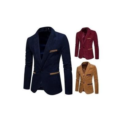 テーラードジャケット ジャケット メンズ  スーツ 1つボタン長袖  ビジネス 紳士用 アウター コーデュロイ オシャレ カジュアル