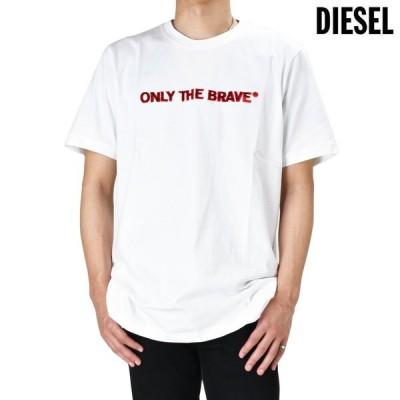 [1,000円クーポン][限定SALE]ディーゼル Tシャツ カットソー エンブロイダリー 半袖 クルーネック ホワイト 白 T-JUST-E4 メンズ