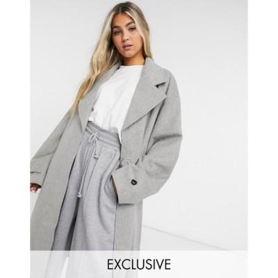 コルージョン レディース コート アウター COLLUSION longline brushed faux wool overcoat in light gray