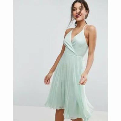 エイソス ワンピース ASOS Pleated Midi Dress with Halter Neck Soft green