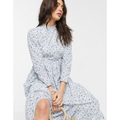 エイソス レディース ワンピース トップス ASOS DESIGN cotton poplin tiered maxi dress in ditsy floral print White based ditsy